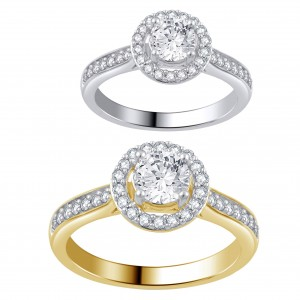 White and Gold 1ct TDW Diamond Halo Engagement Ring . - Custom Made By Yaffie™
