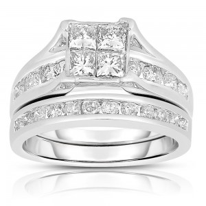 White Gold 2ct TDW Diamond Composite Bridal Set - Custom Made By Yaffie™