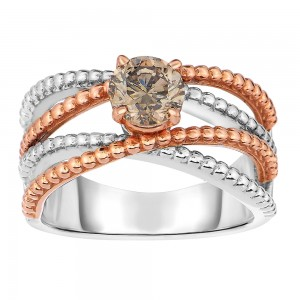 Two-tone Gold 7/8ct TDW Champagne Diamond Solitaire Ring - Custom Made By Yaffie™