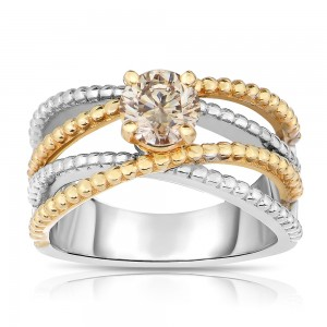 Two-tone Gold 7/8ct TDW Champagne Solitaire Diamond Ring - Custom Made By Yaffie™