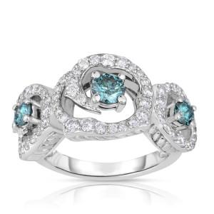 White Gold 1 3/4ct TDW Blue 3-Stone Halo Diamond Engagement Ring - Custom Made By Yaffie™