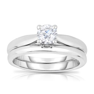 White Gold 1/2ct TDW Solitaire Diamond Wedding Set - Custom Made By Yaffie™