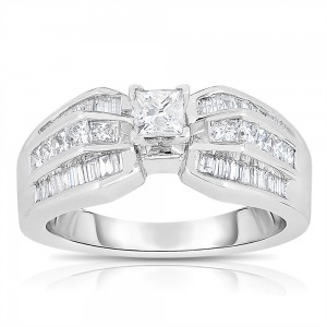 White Gold 1ct TDW One-Of-A-Kind Princess Cut Solitaire Diamond Engagement Ring - Custom Made By Yaffie™