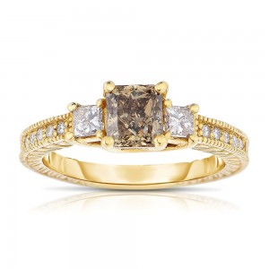 Gold 1 1/2ct TDW Cognac and White Diamond Ring - Custom Made By Yaffie™
