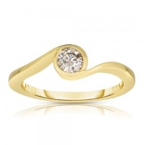 Gold 1/3ct TDW Solitaire Champagne Diamond Ring - Custom Made By Yaffie™