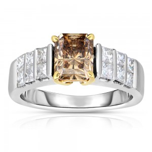 Two-tone Gold 2 3/4ct TDW Cognac and White Diamond Ring - Custom Made By Yaffie™