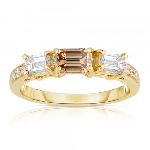 Gold 1 1/3ct TDW Cognac and White 3-stone Diamond Ring - Custom Made By Yaffie™