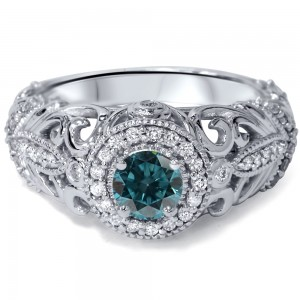 Engagement White Gold 3/4ct TDW Blue and White Diamond Vintage Halo Ring - Custom Made By Yaffie™