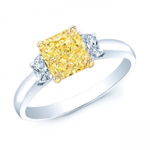 Estie G Gold and Platinum 1 3/5ct TDW GIA-certified Fancy Yellow and White Diamond Ring - Custom Made By Yaffie™