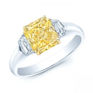 Estie G Gold and Platinum 2 5/8ct TDW Radiant GIA-Certified Fancy Yellow Diamond Ring - Custom Made By Yaffie™