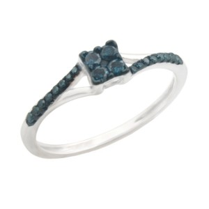 Fabulous 0.19ct Round Brilliant Cut Blue Color Traterd Natural Diamond Engagement Ring - Custom Made By Yaffie™