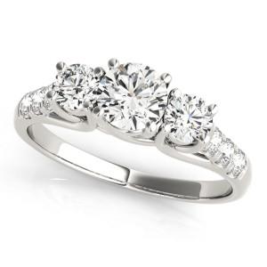 JewelMore White Gold 1/2ct TDW White Diamond Three-Stone Engagement Ring - Custom Made By Yaffie™