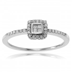 Journee Collection Sterling Silver 1/3 ct Diamond Halo Engagement Ring - Custom Made By Yaffie™