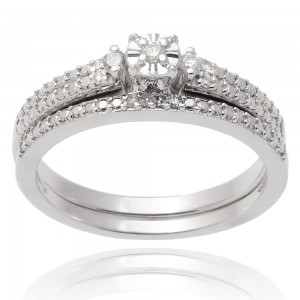 Journee Collection Sterling Silver Diamond 1/10 TDW Wedding Ring Set - Custom Made By Yaffie™