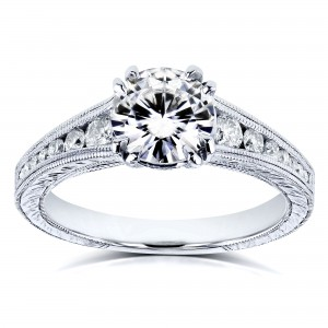 Kobelli White Gold 1 1/4ct TCW Forever One Colorless Moissanite with Diamond Milgrain Channel Band Engagement Ring - Custom Made By Yaffie™