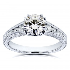 Kobelli White Gold 1 1/4ct TCW Near Colorless Moissanite with Diamond Milgrain Channel Band Engagement Ring - Custom Made By Yaffie™