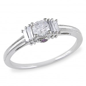 White Gold Baguette and Round-cut 1/2ct TDW Diamond Engagement Ring - Custom Made By Yaffie™