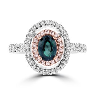 La Vita Vital White Gold .79ct TGW Brazilian Alexandrite and Diamond Statement Ring - Custom Made By Yaffie™