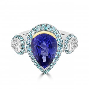 La Vita Vital Two-Tone 5.2cts Tanzanite Paraiba Tourmaline and Diamond Ring - Custom Made By Yaffie™