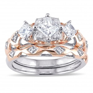 2-tone Rose and White Gold 1ct TDW Princess and Round-cut Patterned Bridal Ring Set - Custom Made By Yaffie™