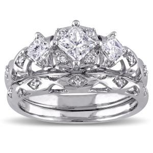 White Gold 1ct TDW Diamond Princess and Round-cut Milgrain Detail Bridal Ring Set - Custom Made By Yaffie™