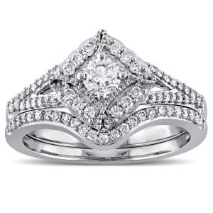 White Gold 5/8ct TDW Princess Cut Diamond Bridal Ring Set - Custom Made By Yaffie™