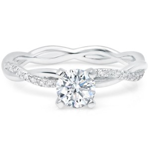 0.85ct TDW Pave Set Round Solitaire twisty infinity Diamond Engagement Ring available in Gold. - Custom Made By Yaffie™