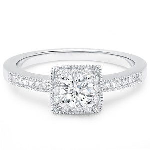 Gold 5/8ct TDW Square Princess Halo, Pave set round Diamond Engagement Ring - Custom Made By Yaffie™