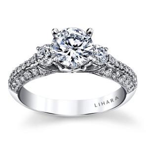 White Gold 0.72ct TDW Semi-Mount Diamond Engagement Ring - Custom Made By Yaffie™