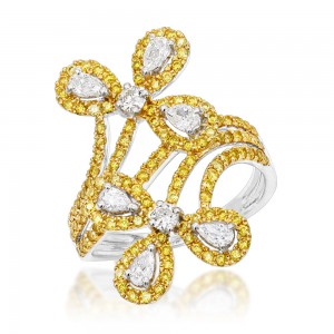 Gold White Yellow Diamond Flower Cocktail Ring for Women 1.5ct - Custom Made By Yaffie™