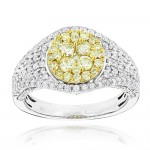 Gold 1 3/4ct TDW White and Yellow Diamond Engagement Ring - Custom Made By Yaffie™
