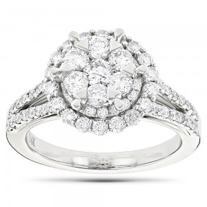 White Gold 1 3/4ct TDW Diamond Cluster Engagement Ring - Custom Made By Yaffie™