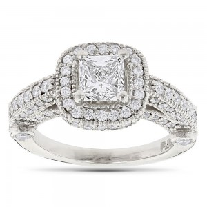 Platinum 2 1/0ct TDW Princess-cut and Round Diamond Halo Engagement Ring - Custom Made By Yaffie™