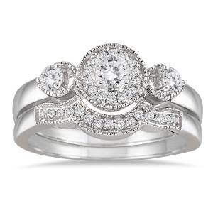 White Gold 1/2ct TDW Antique Diamond Bridal Ring Set - Custom Made By Yaffie™