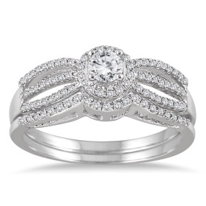 White Gold 1/2ct TDW Diamond Antique Bridal Ring Set - Custom Made By Yaffie™
