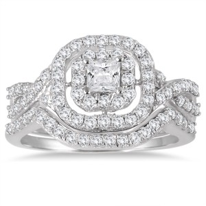 White Gold 1ct TDW Diamond Double Halo Princess Bridal Ring Set - Custom Made By Yaffie™