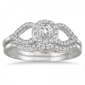 White Gold 2/5ct White Diamond Antique-style Bridal Ring Set - Custom Made By Yaffie™