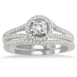 White Gold 3/4ct TDW White Diamond Halo Bridal Ring Set - Custom Made By Yaffie™