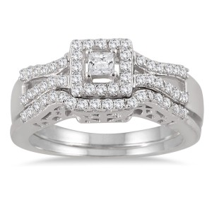 White Gold 3/5ct TDW Diamond Halo Bridal Ring Set - Custom Made By Yaffie™