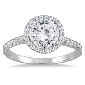 White Gold 2ct TDW Halo Diamond Engagement Ring - Custom Made By Yaffie™