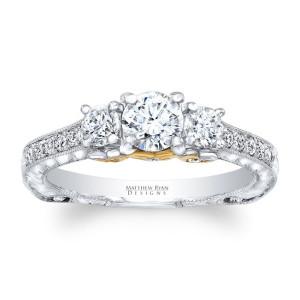 Matthew Ryan Design Two-tone Gold 1 1/6ct TDW Diamond Vintage Style Engagement Ring - Custom Made By Yaffie™