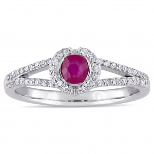 Signature Collection White Gold Ruby and 1/5ct TDW Diamond Halo Split Shank Engagement Ring - Custom Made By Yaffie™