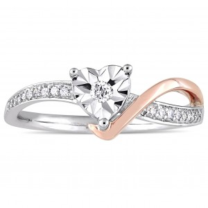 2-Tone White and Rose Gold 1/10ct TDW Diamond Heart-Shaped Crossover Engagement Ring - Custom Made By Yaffie™