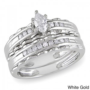 Gold 2/5ct TDW Diamond Bridal Ring Set - Custom Made By Yaffie™