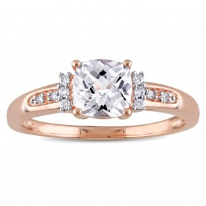 Rose Gold Created White Sapphire and Diamond Accent Engagement Ring - Custom Made By Yaffie™