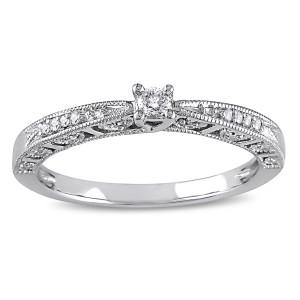 White Gold 1/10ct TDW Diamond Milgrain Design Promise Ring - Custom Made By Yaffie™