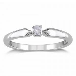 White Gold 1/10ct TDW Diamond Solitaire Promise Ring - Custom Made By Yaffie™