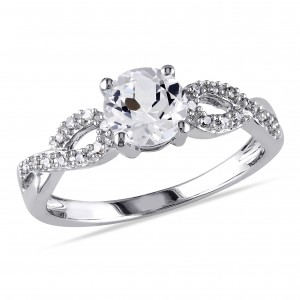 White Gold 1/10ct TDW Diamond and Created White Sapphire Engagement Ring - Custom Made By Yaffie™