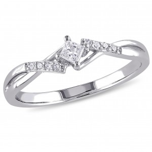 White Gold 1/10ct TDW Princess-Cut Overlapping Diamond Promise Ring - Custom Made By Yaffie™