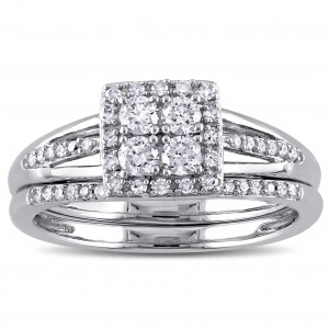 White Gold 1/2ct TDW Diamond Quad Halo Bridal Ring Set - Custom Made By Yaffie™